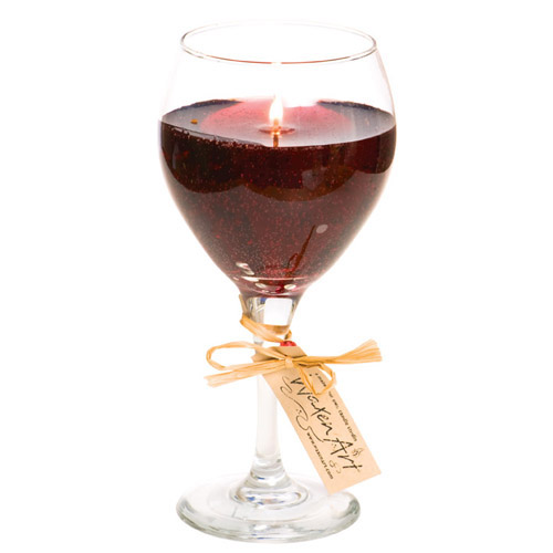 Red Wine Glass Gel Candle