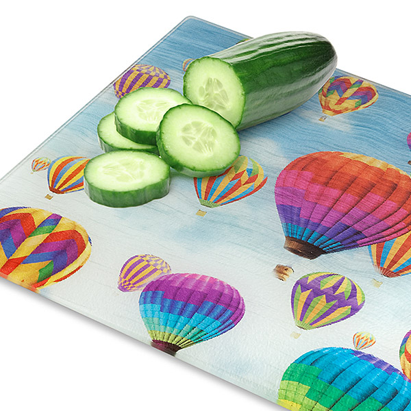 Hot Air Balloon Tempered Glass Cutting Board
