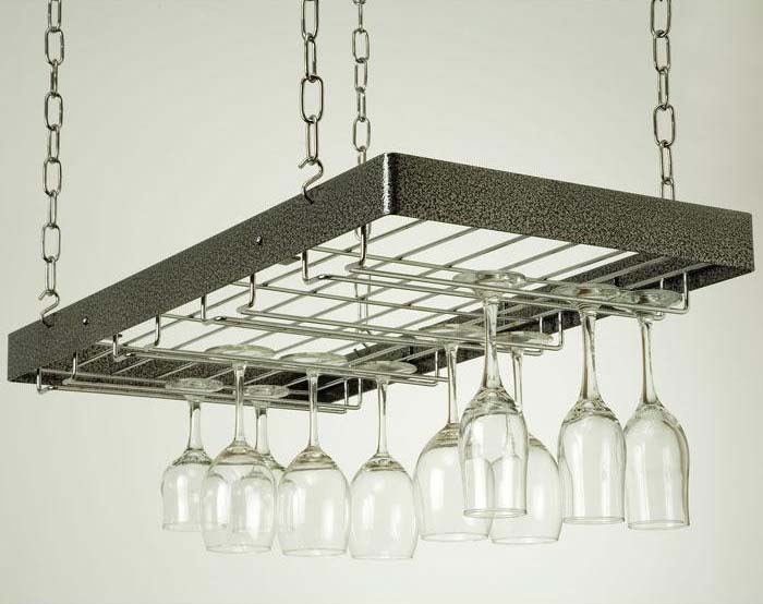hanging wine glass rack hammered steelchrome - Hanging Wine Glass Rack