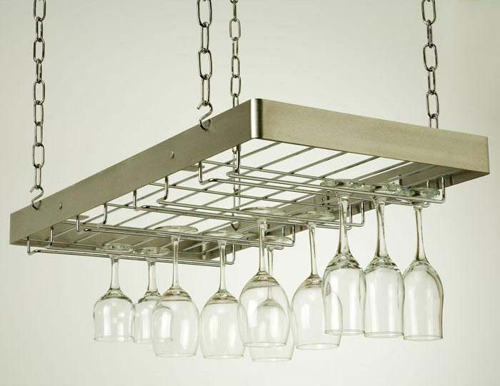 hanging wine glass rack stainless steelchrome - Hanging Wine Glass Rack