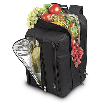 Wine Picnic Backpack for Two - Black