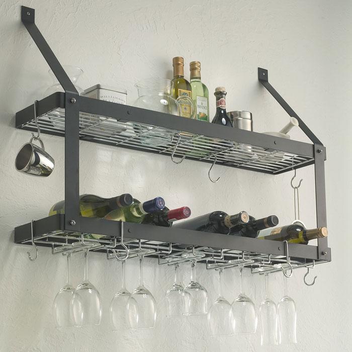 Estate Wine Rack Double Shelf Black Chrome