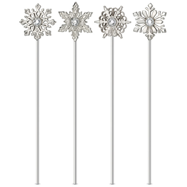 Silver-Plated Snowflake Cocktail Stirrers | EVERYTHINGbutWINE.com