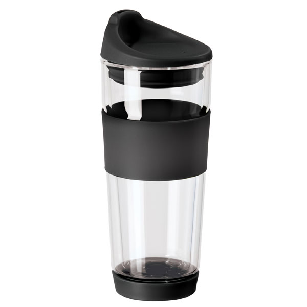 Double Wall Borosilicate Glass Travel Mug With Silicone