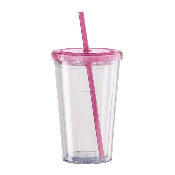 7f3b4b98b4f Pink Double Wall Acrylic Tumbler 20oz with Dome Top & Spiral Straw |  EVERYTHINGbutWINE.com
