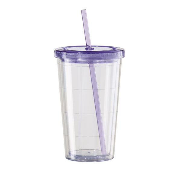 46185fbd229 Clear Double Wall Acrylic Tumbler 16oz with Drinking Straw |  EVERYTHINGbutWINE.com