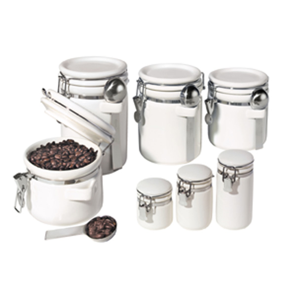 7 Pc. Round Ceramic Canister Set with S/S Spoons by Oggi